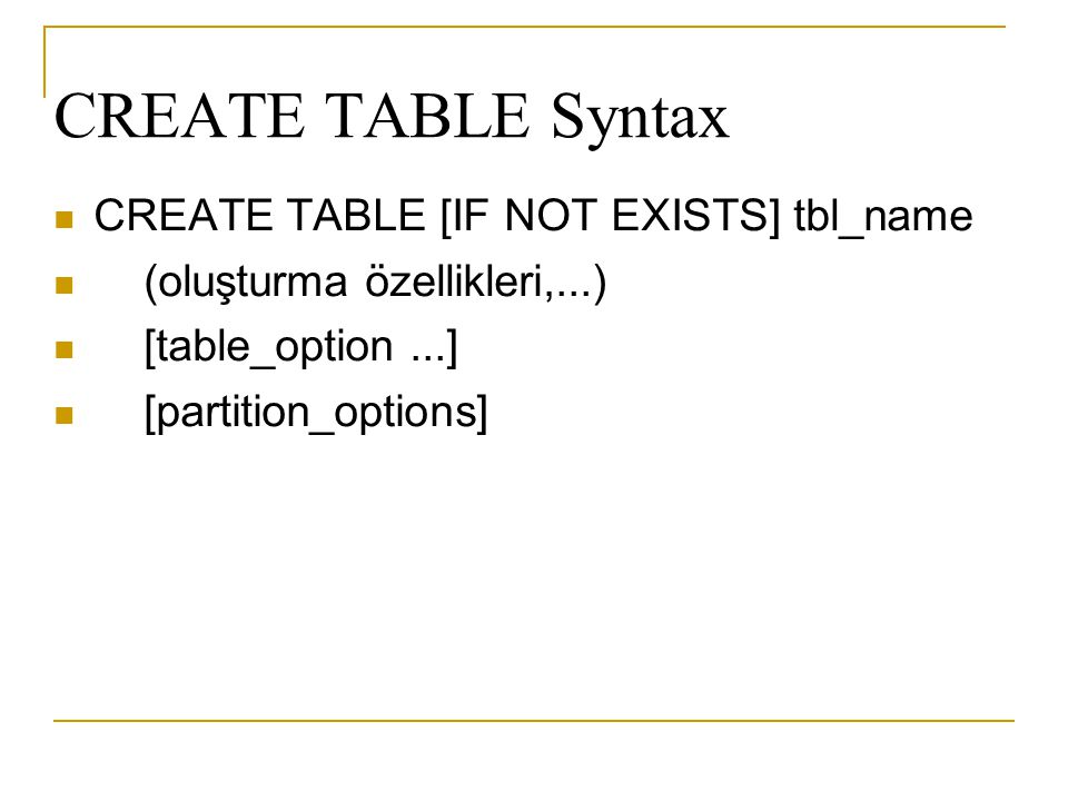 CREATE TABLE Syntax CREATE TABLE [IF NOT EXISTS] tbl_name
